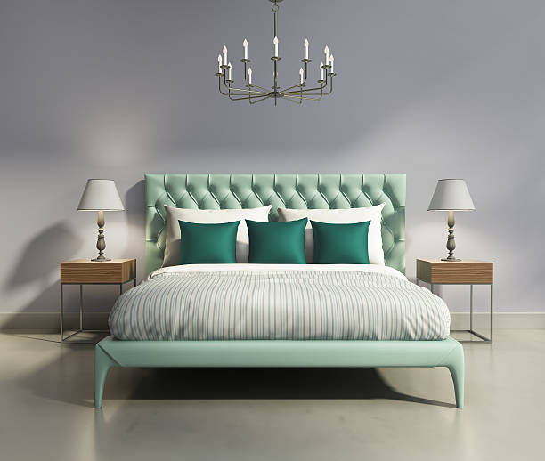 leichte grüne elegante inneneinrichtung moderne schlafzimmer. - lila, grün, schlafzimmer stock-fotos und bilder