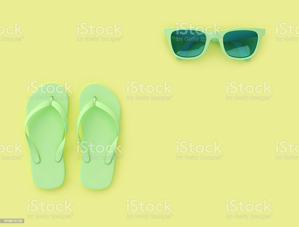 817527a64b9ef Light green flip flops and sunglasses on yellow background with copy space  royalty-free stock