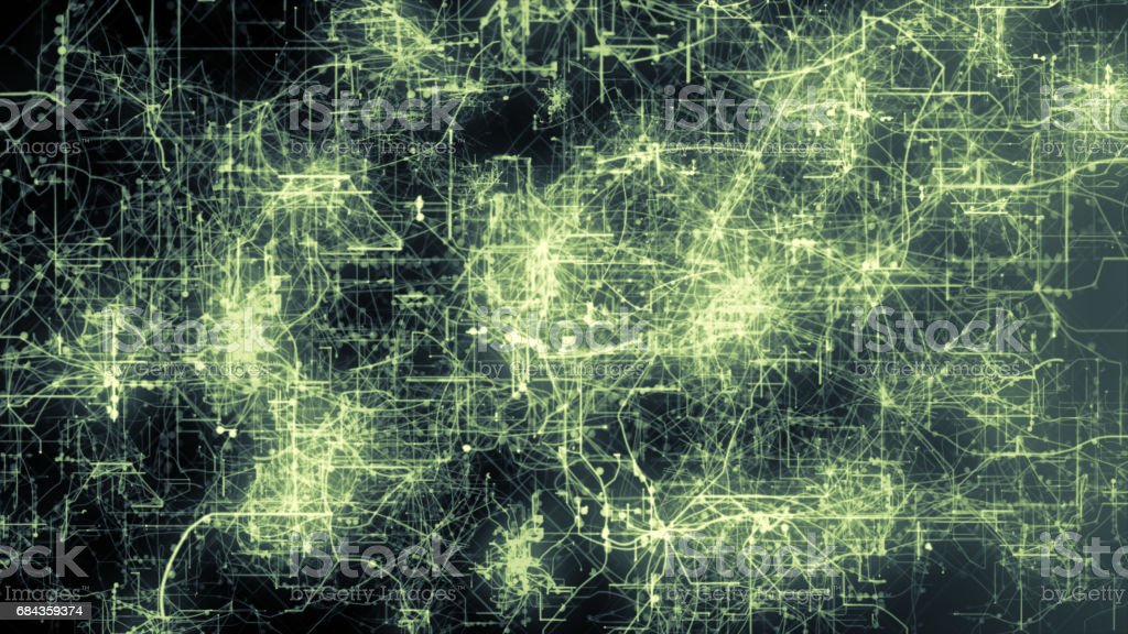 Light green lines drawn by bright spots eventually create an abstract image of a circuit board. stock photo