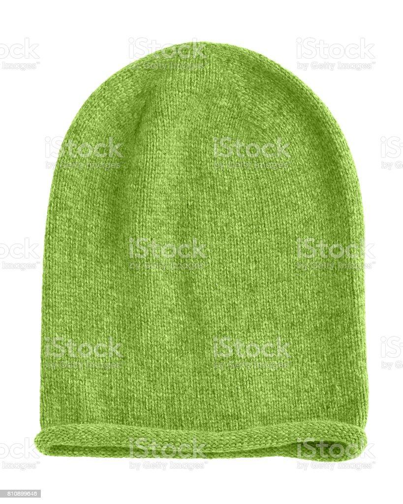 Light green long beannie autumn hat isolated stock photo