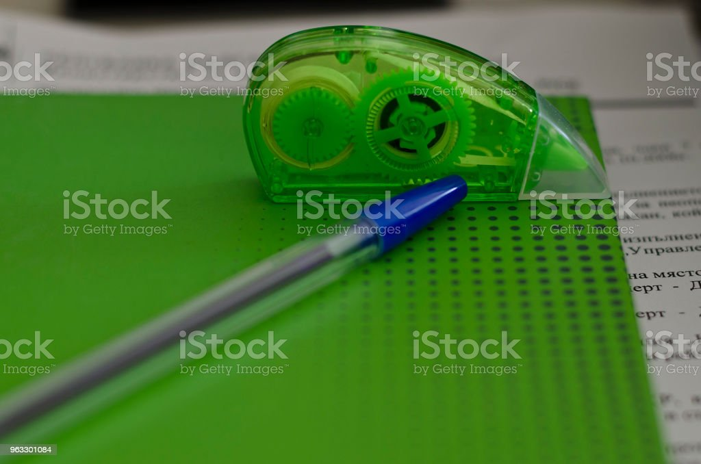Light green paper book on the table stock photo