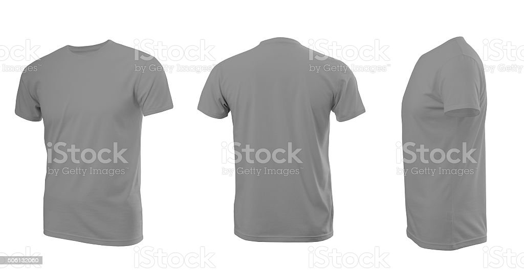 Light grey man's T-shirt with short sleeves stock photo