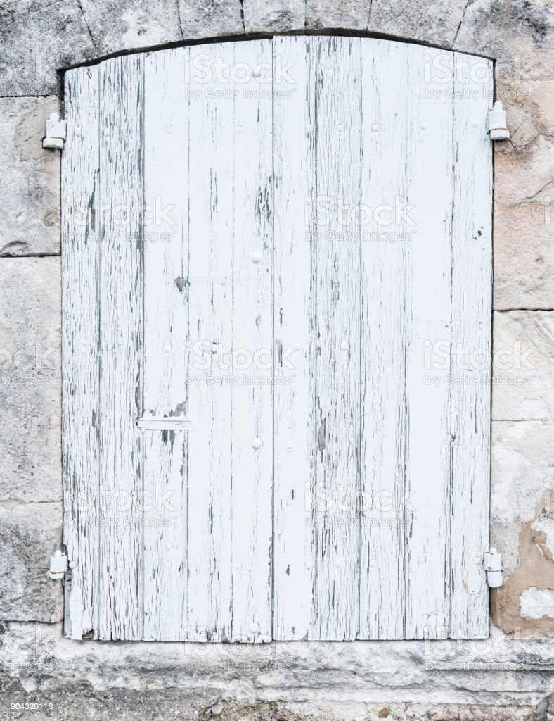 Light Grey Or White Old Shutters In Limestone Wall Of French Provence House Stock Photo Download Image Now Istock