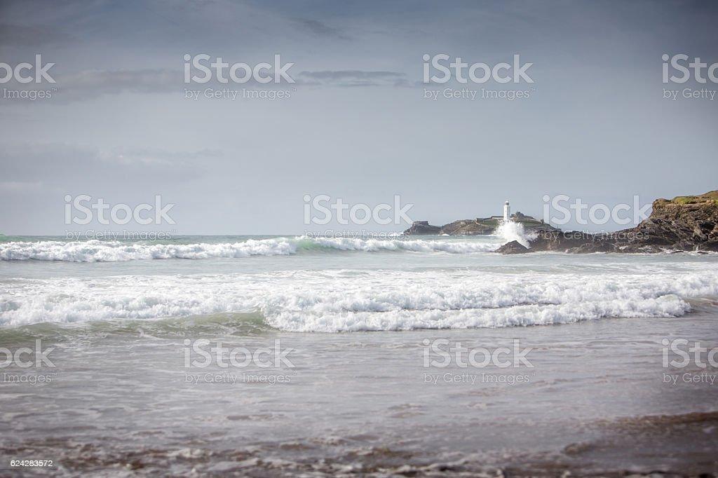 light house at Godrevy beach stock photo