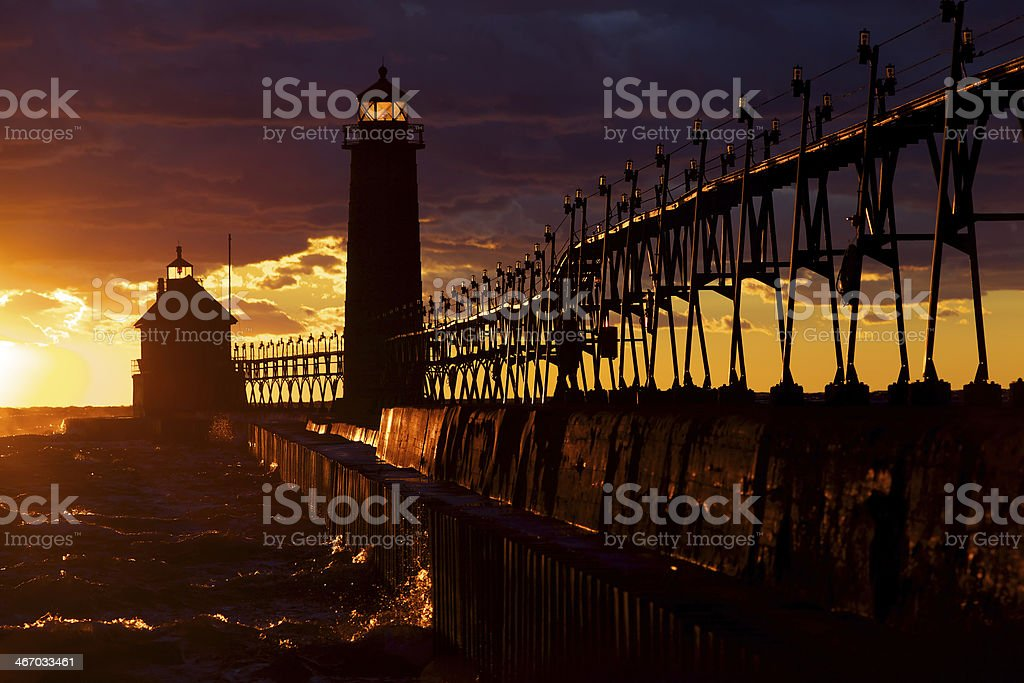 Light House back lit by Sunset royalty-free stock photo