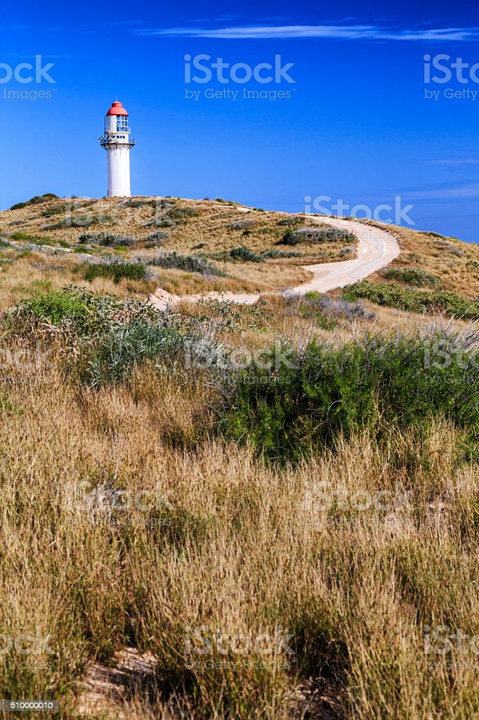 Light house near Carnarvon blowholes, Western Australia stock photo