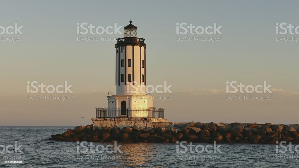 Light House on the breakwater of Los Angeles harbor. stock photo
