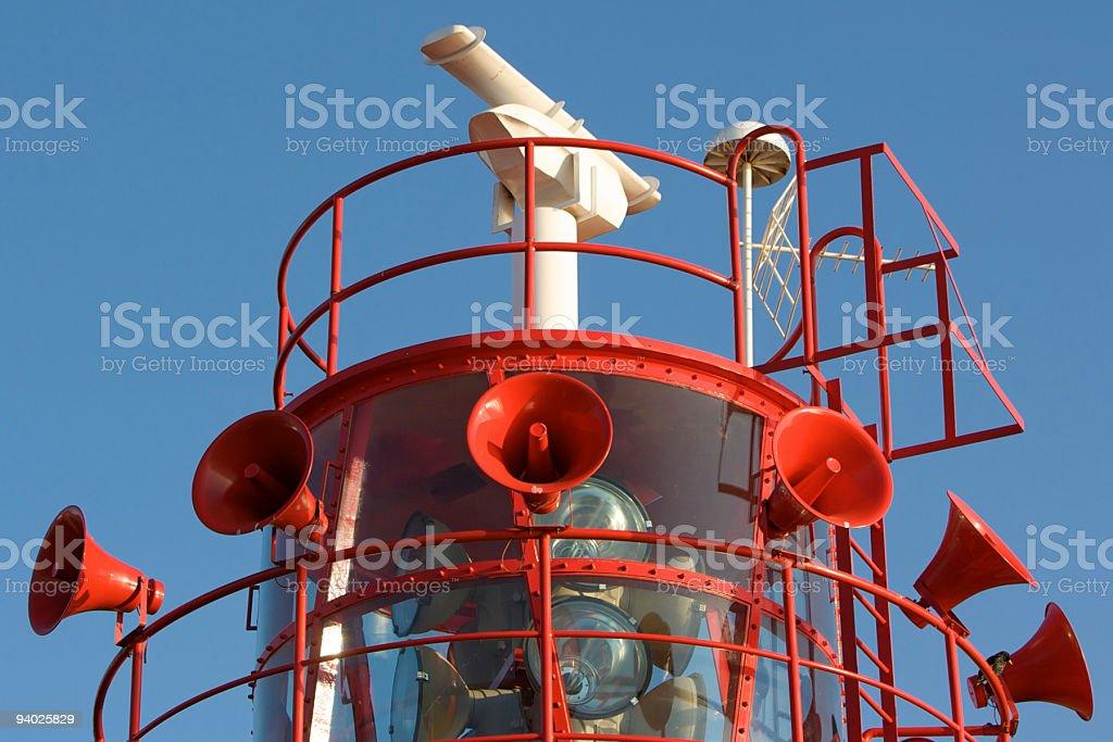 Light house with fog horns and Radar stock photo
