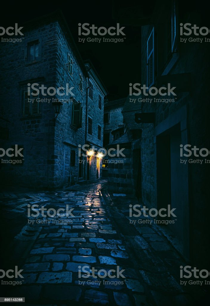 Light in a Dark Alley, Kotor, Montenegro stock photo