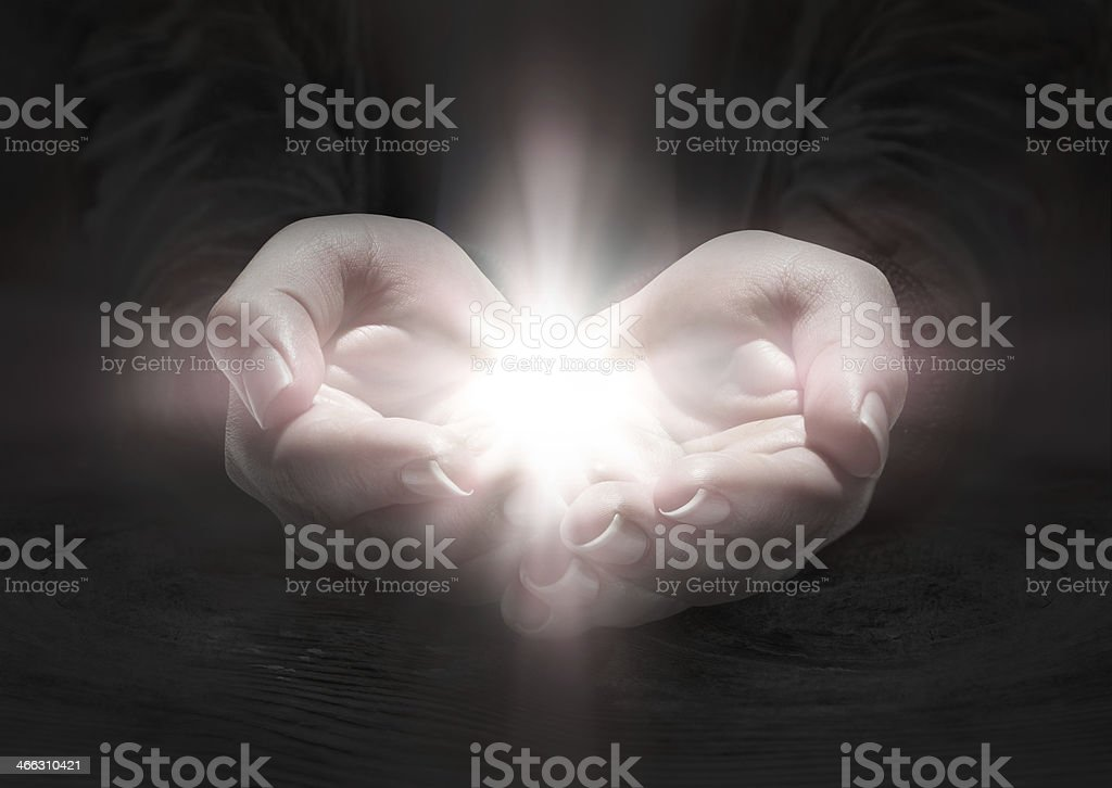light in hands - rood stock photo