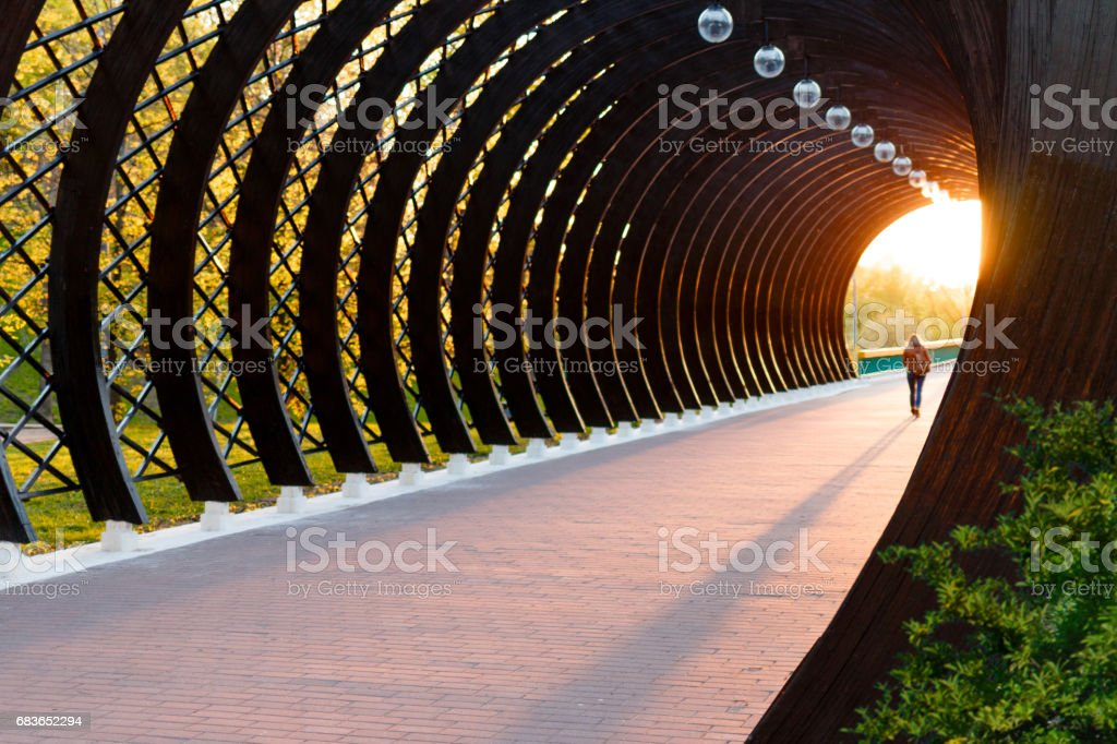 A light in the end of a tunnel. stock photo