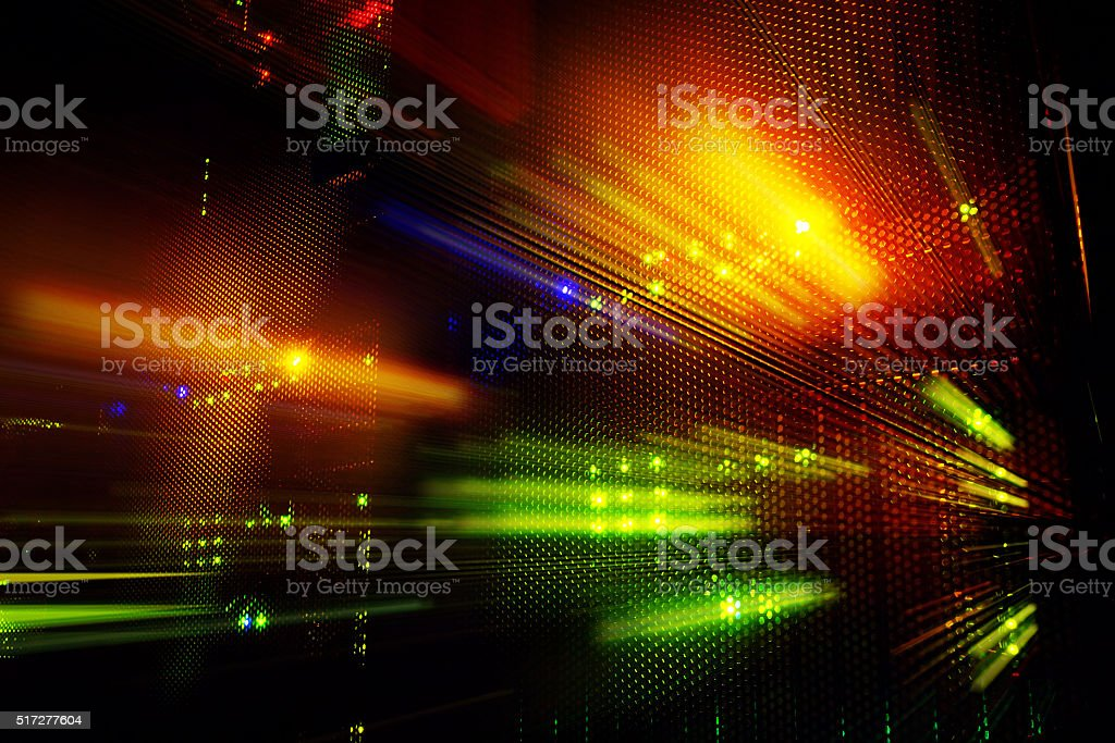 light indicators on the mainframe data center in the dark stock photo