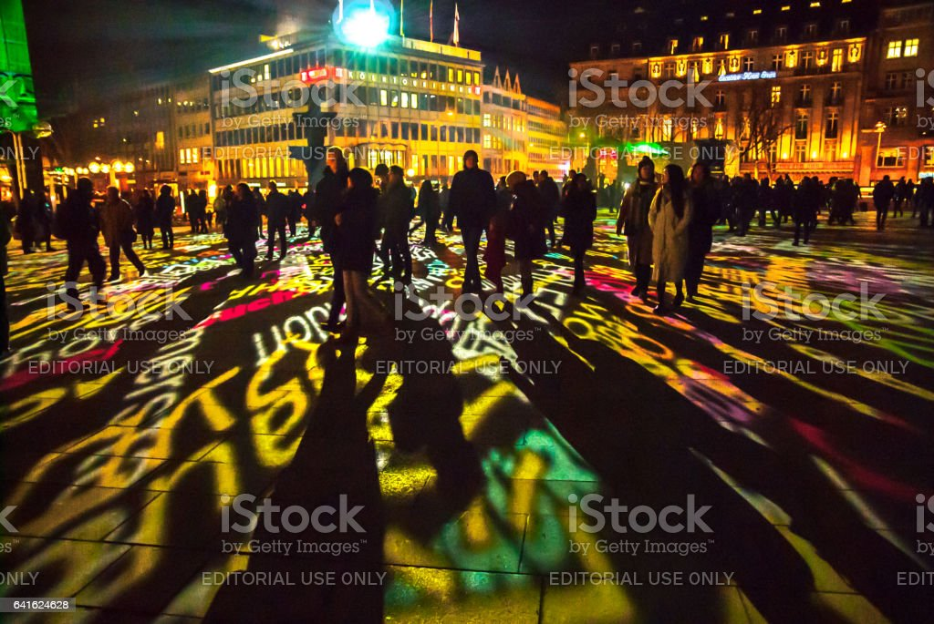 Cologne, Germany - January 16, 2017: Light installation around the cologne cathedral stock photo