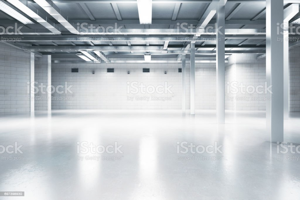 Light interior with blank wall stock photo