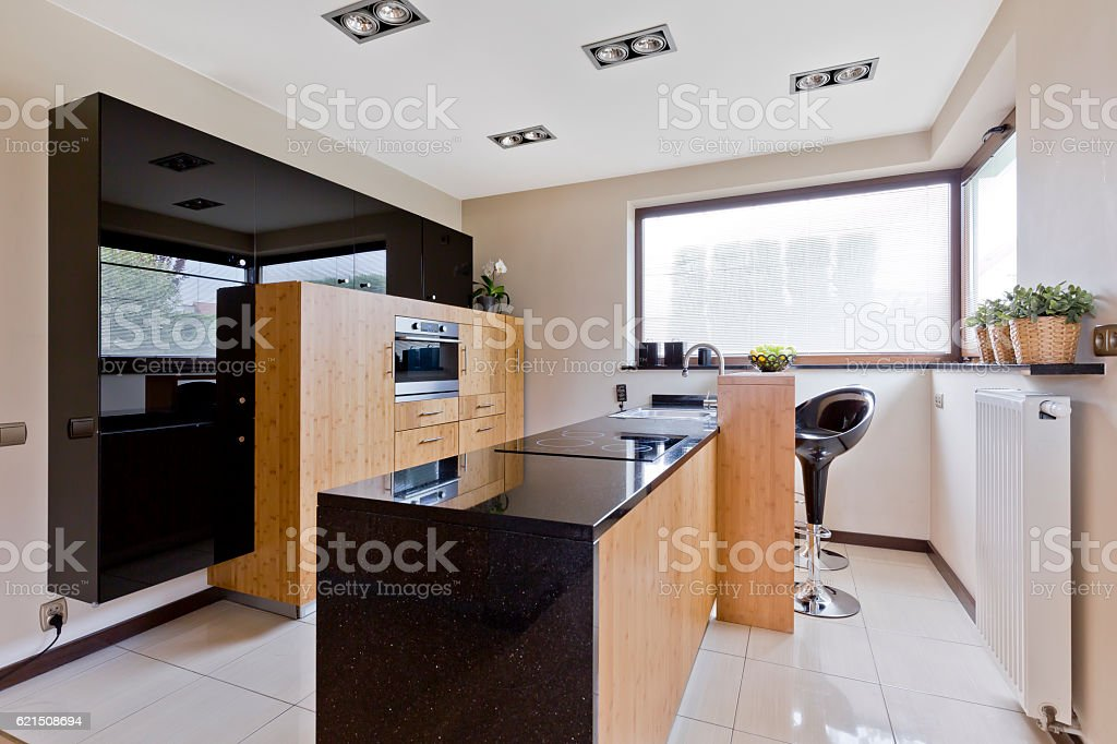 Light kitchen with dark details photo libre de droits