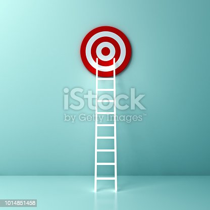 istock Light Ladder and goal target the business idea concept on light green pastel color wall background with shadow and reflection 3D rendering 1014851458