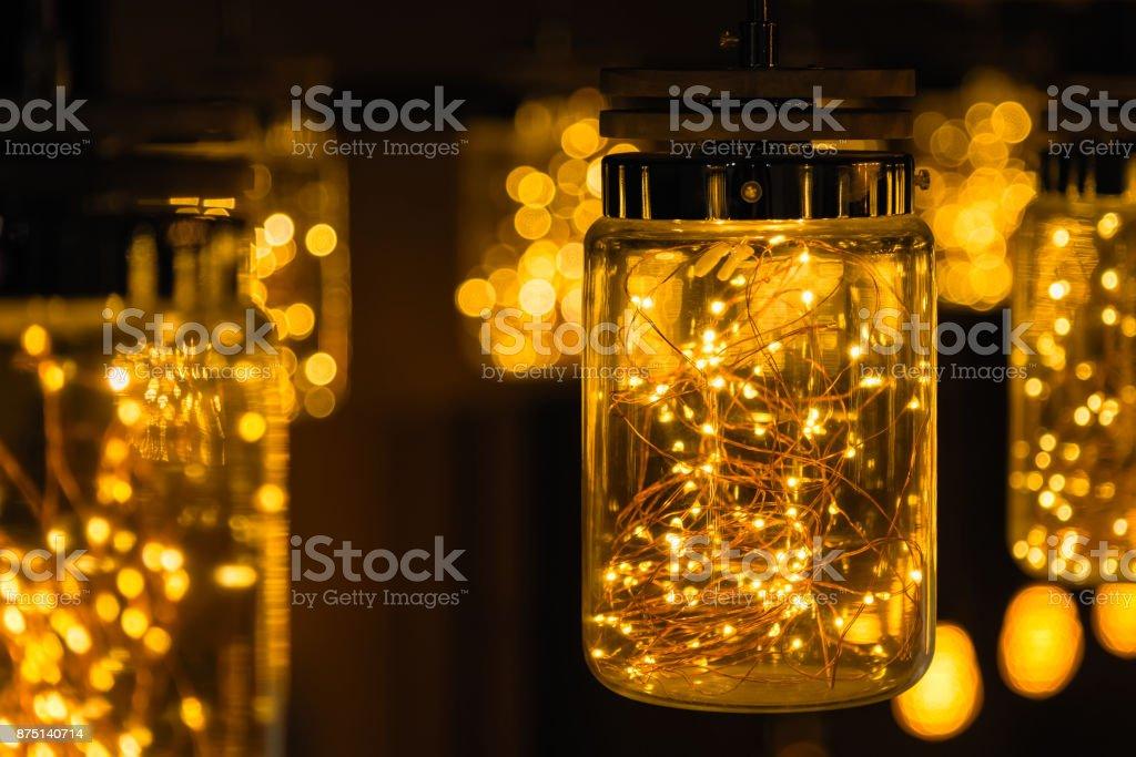 Lampe-Dekor in Weihnachtstag auf Bokeh Hintergrund. – Foto