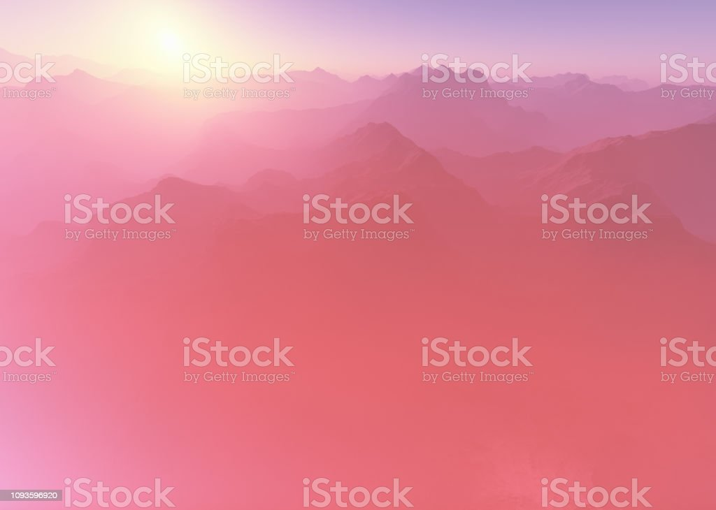 Light leak at high altitude mountains 3d rendering background stock photo