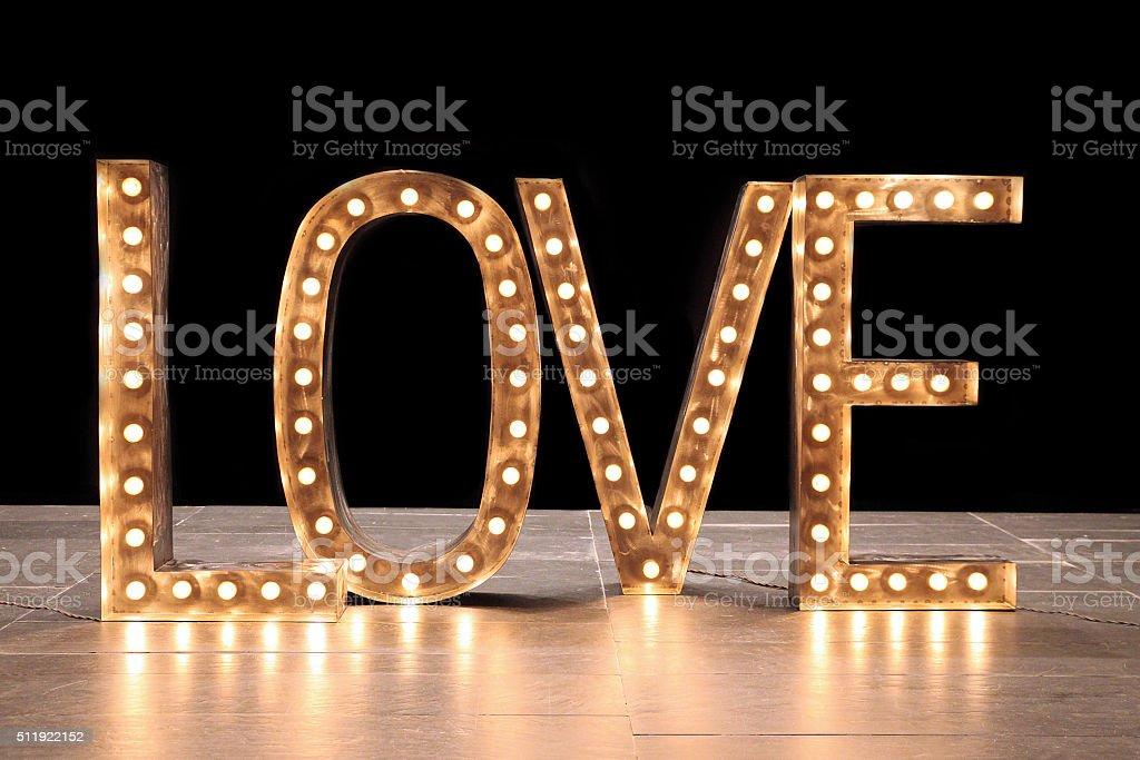 Light letters, the inscription LOVE stock photo