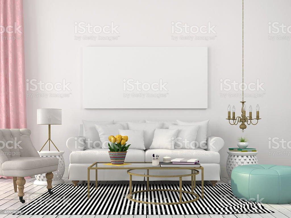 Helle Wohnzimmer In Weiss Und Pastellfarben Stock Fotografie Und Mehr