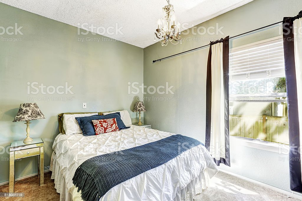 Light Mint Bedroom With Bed Stock Photo Download Image Now Istock