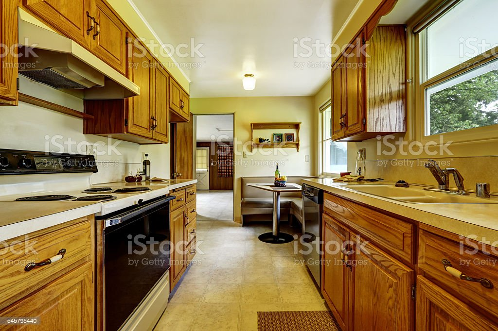 Picture of: Light Narrow Kitchen Room With Corner Sofa And Small Table Stock Photo Download Image Now Istock