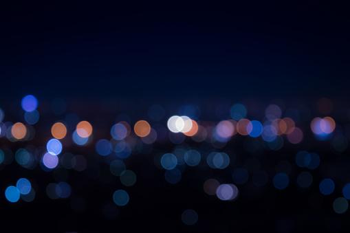 Light night at city blue bokeh