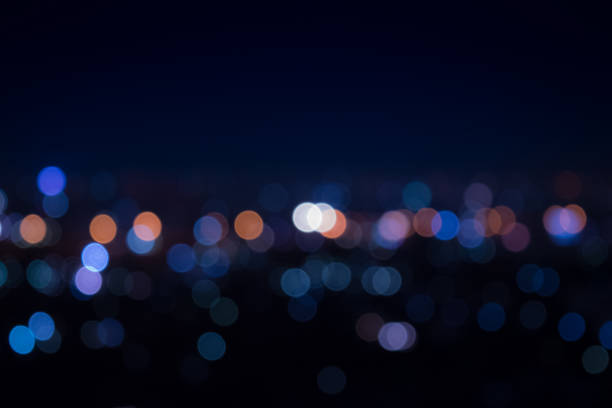 Light night at city blue bokeh stock photo