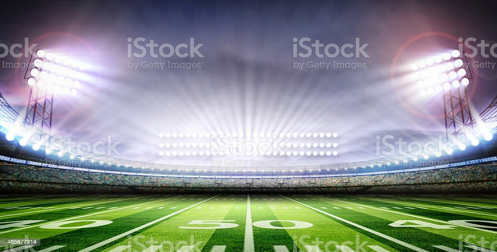 light of American soccer stadium stock photo