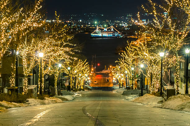 light of road to harbour at night in Hakodate stock photo