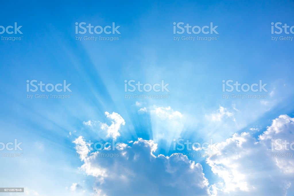 Light of sun and sky blue or azure sky and cloud stock photo