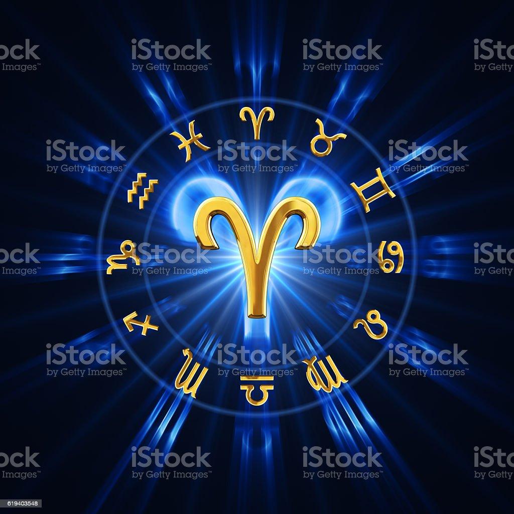 Light Of Zodiac Aries stock photo