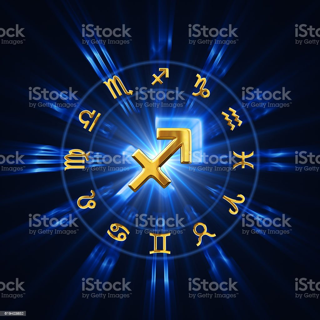 Light Of Zodiac Sagittarius stock photo