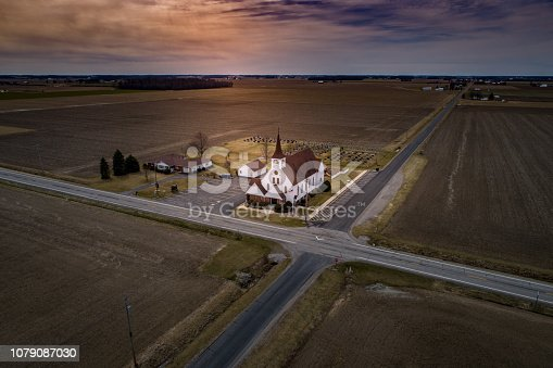 A Lutheran Church on the corner of the intersection in a rural part of Ohio.  The aerial photo was taken at Easter with a drone.