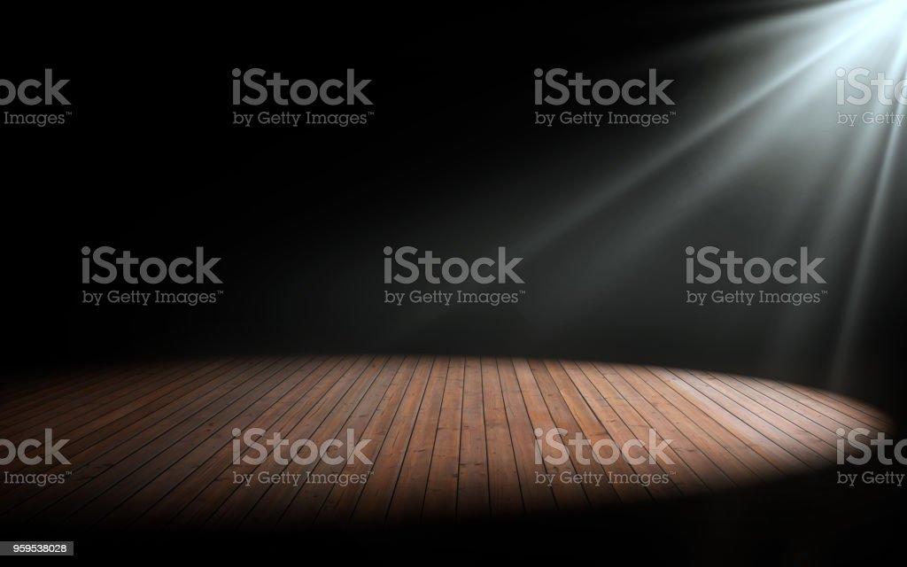 Luz en piso de madera en la habitación vacía. Render 3D - foto de stock