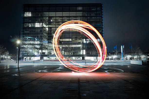 Light paint in the city - foto de stock