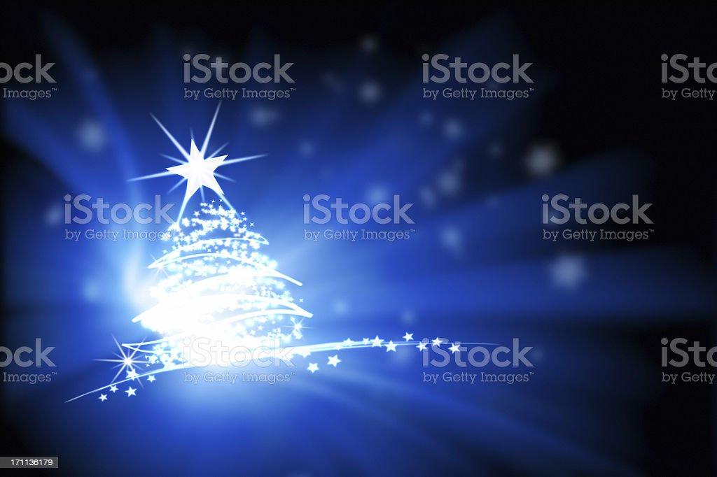 Dipinto albero di Natale luci - foto stock