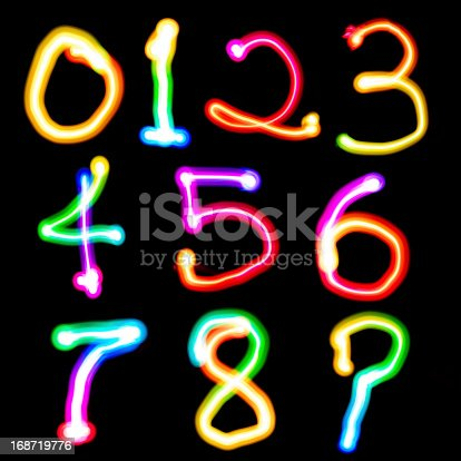 istock Light Painting colorful number 168719776
