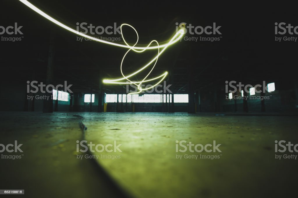 Light Painting in Abandoned Warehouse stock photo