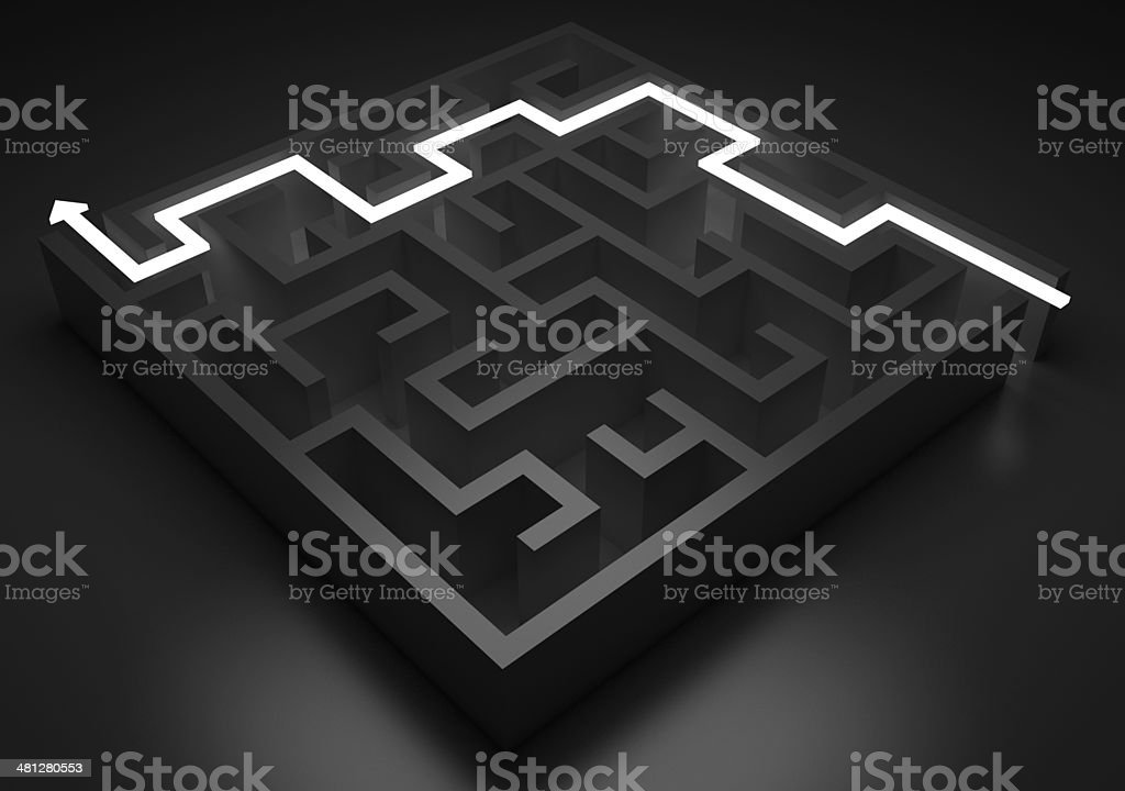 Light path across labyrinth (isolated on black) stock photo