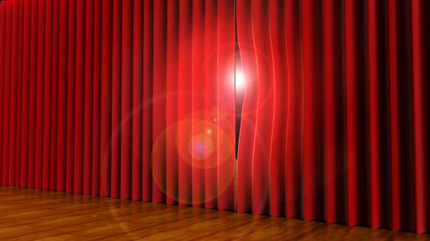 licht gluren door gordijnen van het theater op het podium - sneakpreview stockfoto's en -beelden