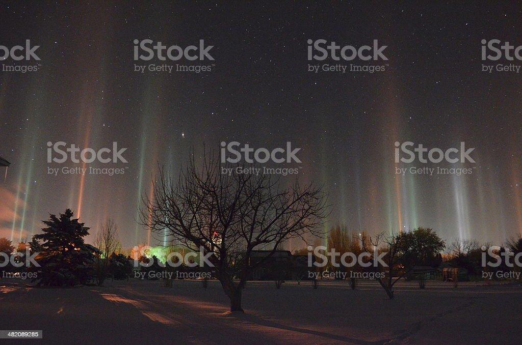 Light Pillars stock photo
