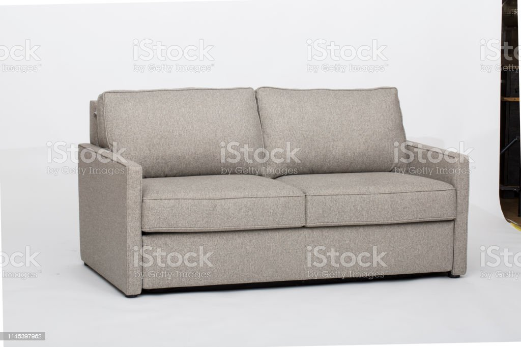 Picture of: Light Pink Sofasofa Bed Christine Light Gray Loveseat White And Pink Pillow With White Background Stock Photo Download Image Now Istock