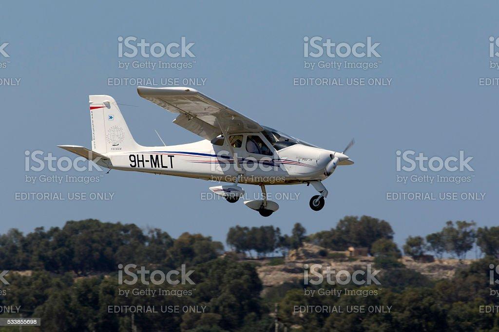Light plane on training flights stock photo