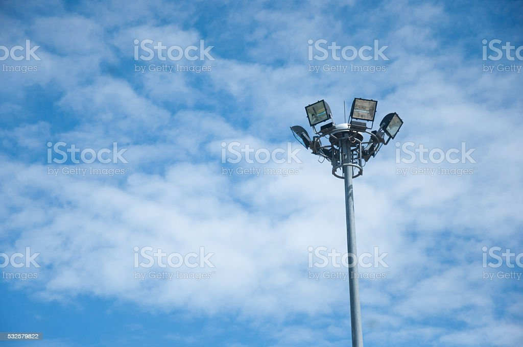 Light pole on blue sky background stock photo