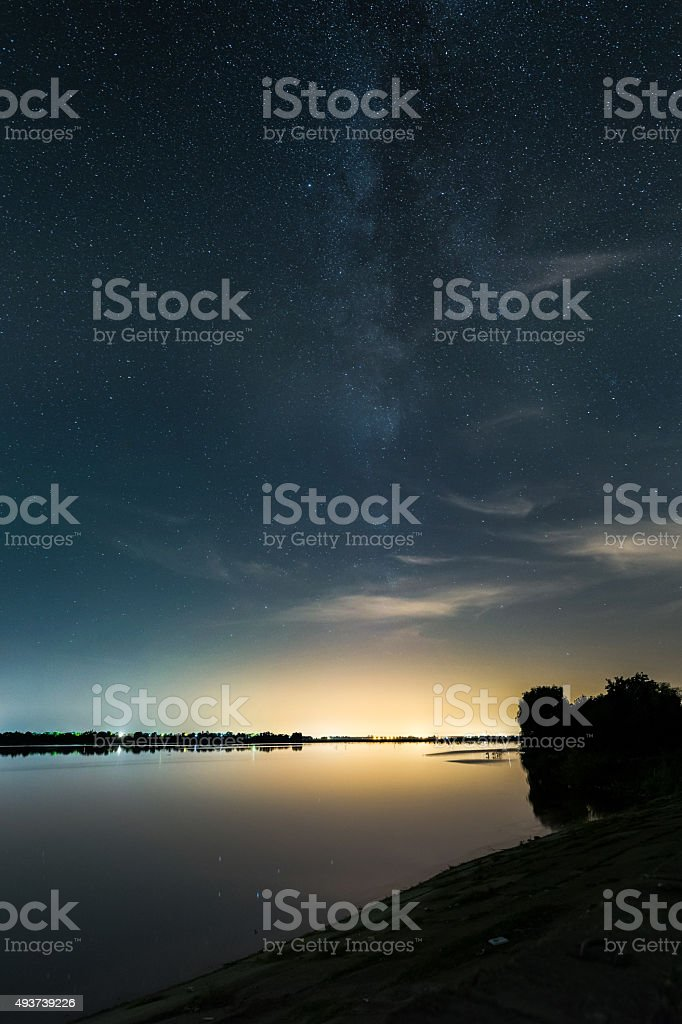Light pollution at the lake side stock photo