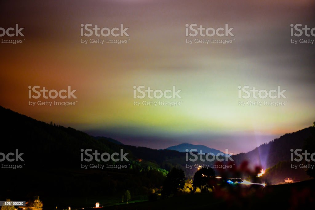 Light Pollution Over A Small Village Stock Photo - Download