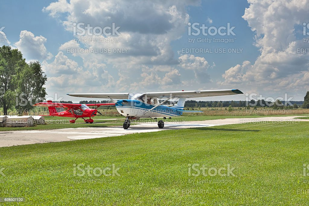 Light private planes stock photo