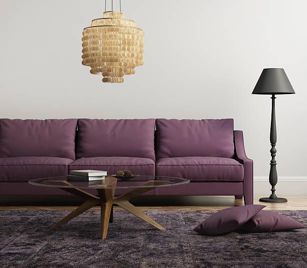 hellviolett elegante moderne wohnzimmer - alten kronleuchter stock-fotos und bilder
