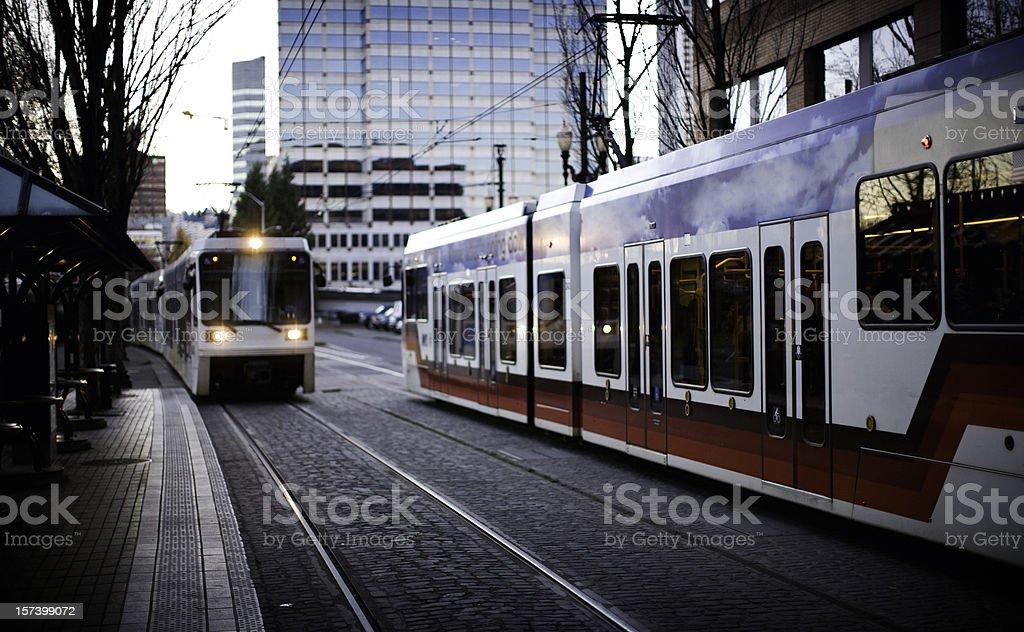 Light Rail Commuting Portland Oregon royalty-free stock photo